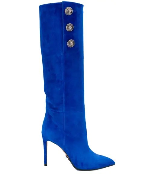 Balmain 95Mm Jane Slouchy Suede Boots In Blue