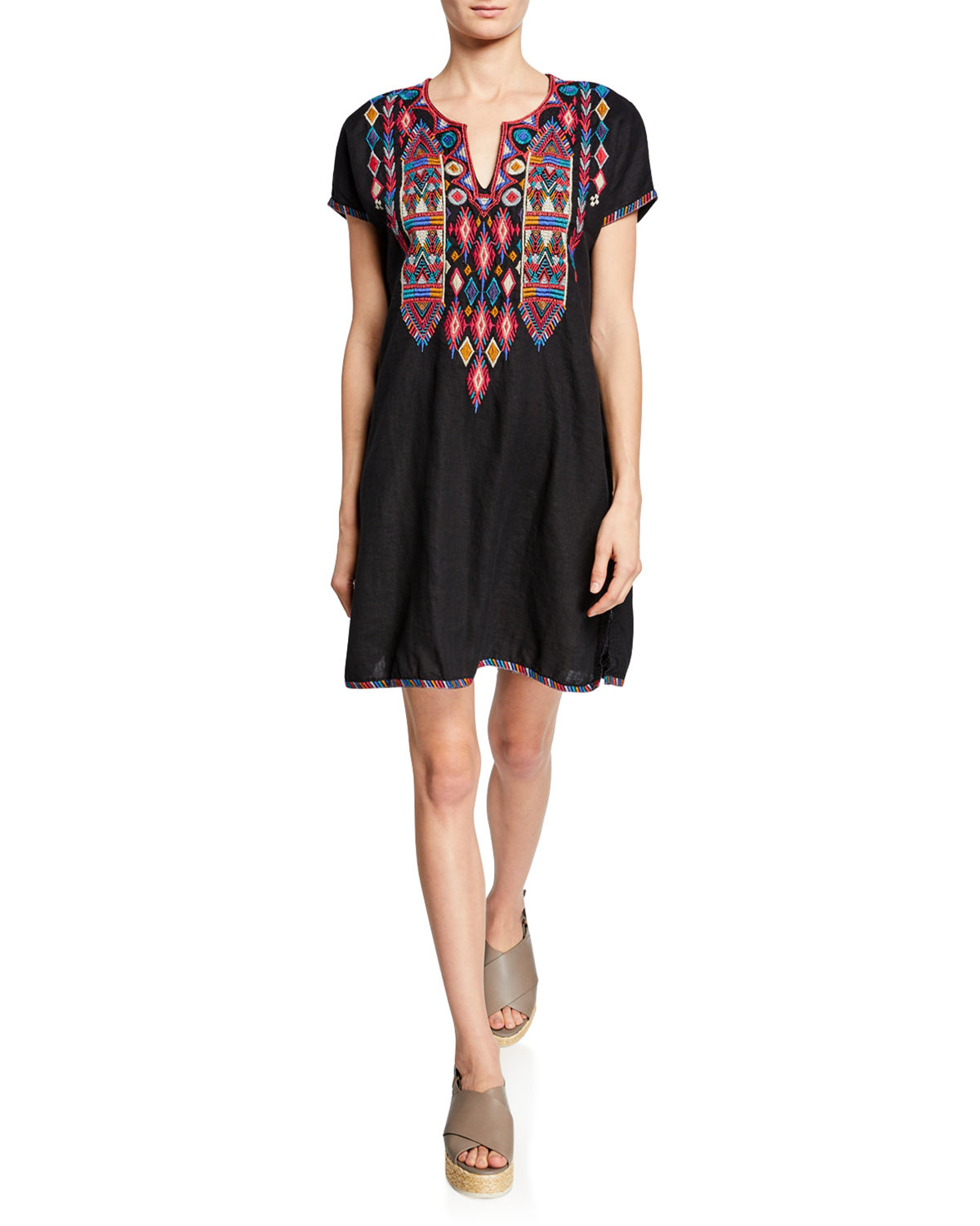 Plus Size Etienne Embroidered Short-Sleeve Easy Linen Tunic Dress in Black