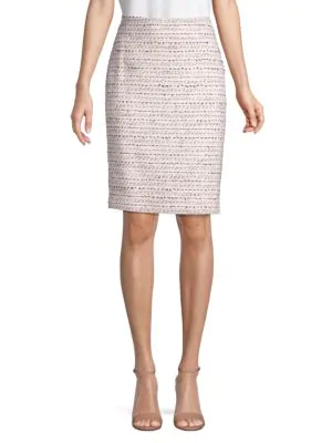 Karl Lagerfeld Tweed Pencil Skirt In Orchid Multi