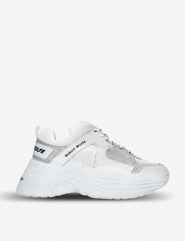 Naked Wolfe Titan Leather And Mesh Trainers In White