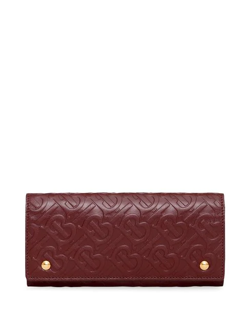 Burberry Monogram Leather Continental Wallet In Red