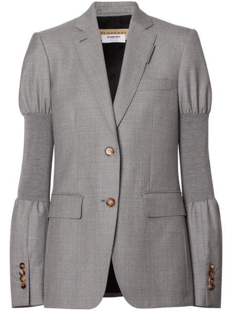 Burberry Single-Breasted Ribbed-Panel Wool Blazer In Grey