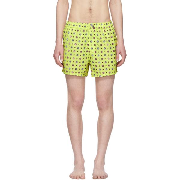 7a0a90413b Kenzo Yellow Medallions Logo Swim Shorts In 39 Lemon