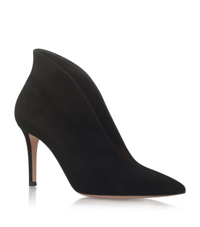 Gianvito Rossi Vania Suede High-Back Ankle Boots In Black