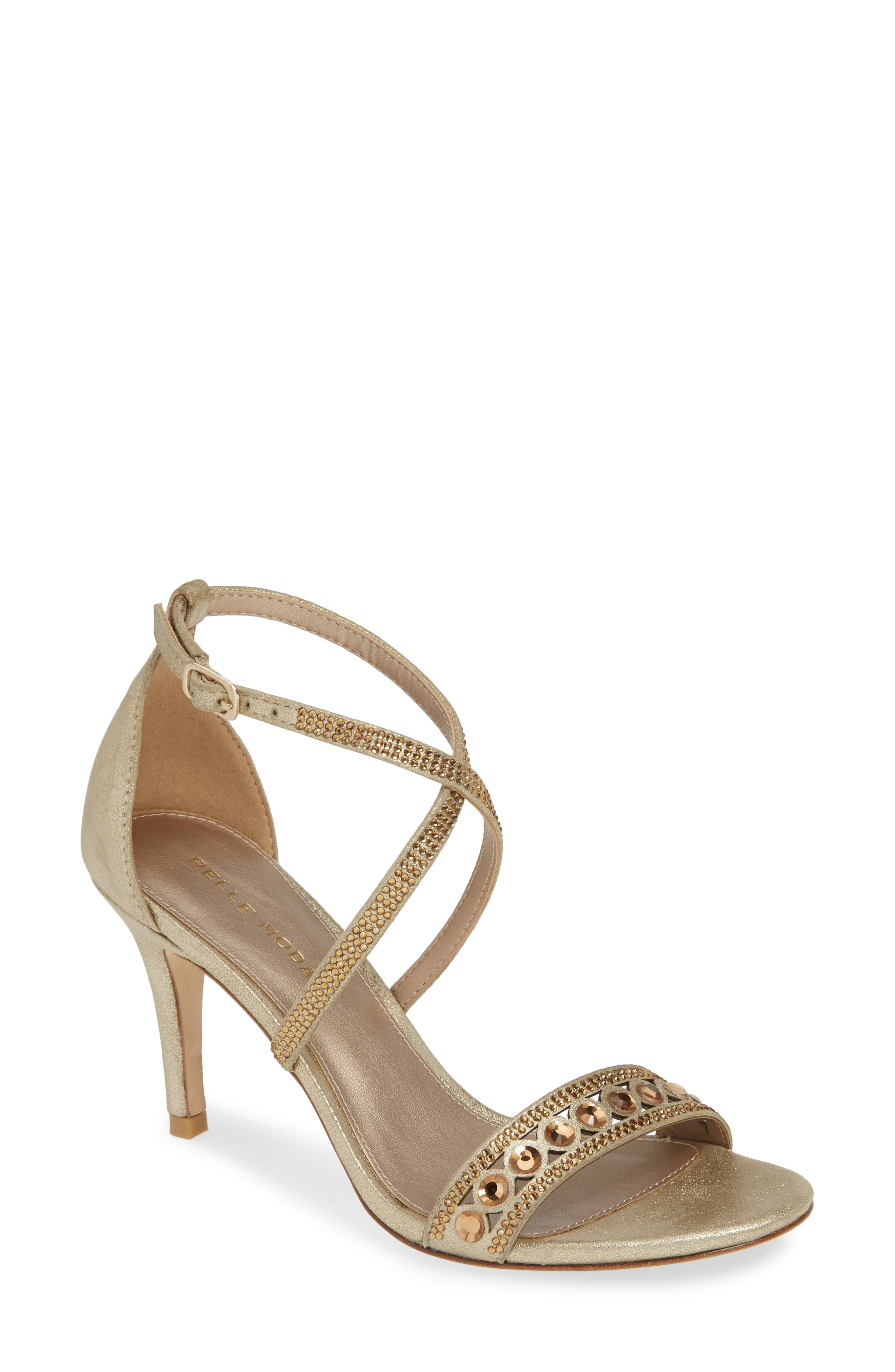 d76d9419c337 Pelle Moda Rory Crystal Embellished Sandal In Silver Nubuck Leather ...