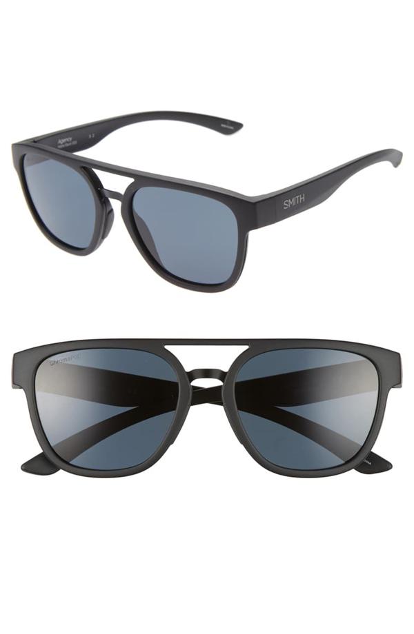 Smith Agency 54mm Chromapop(tm) Polarized Flat Top Sunglasses In Matte Black/ Black