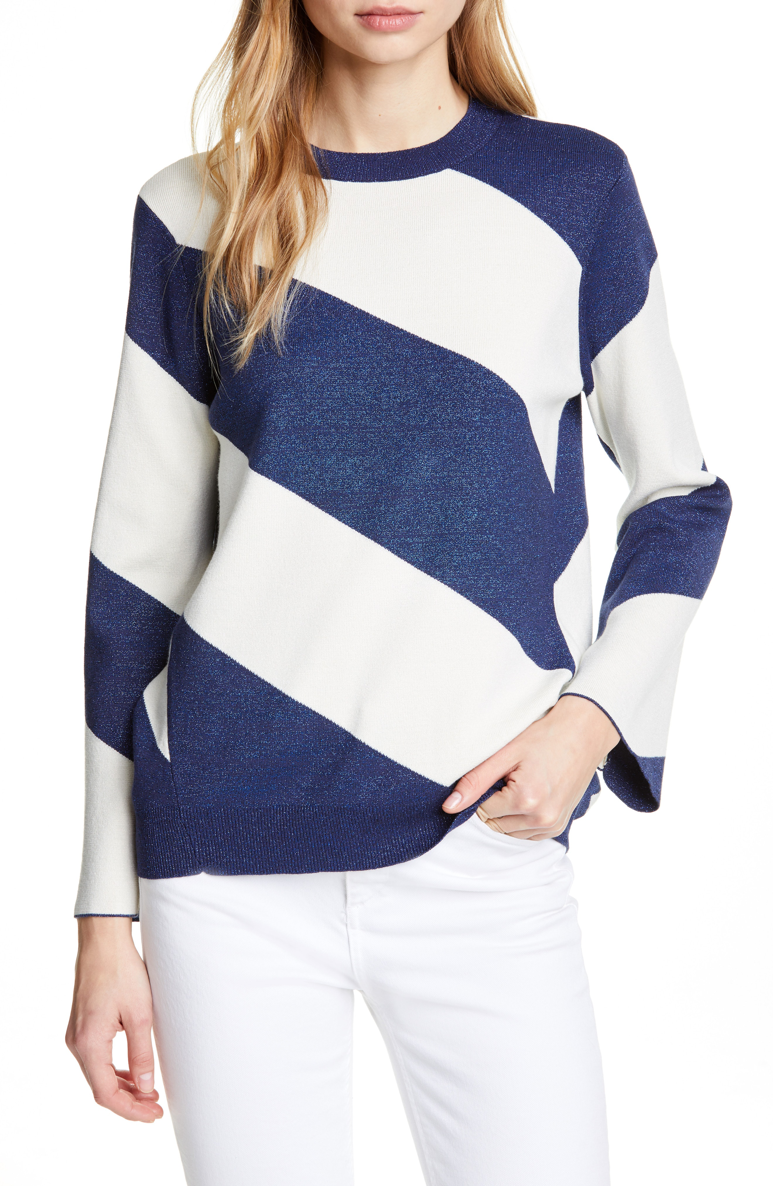 Ted Baker Danyeil Directional Stripe Sweater In Navy