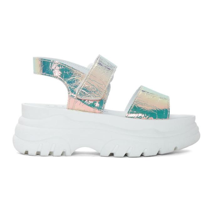 ce7158b4c968 JOSHUA SANDERS. Joshua Sanders White Spice Platform Sandals in Holographic
