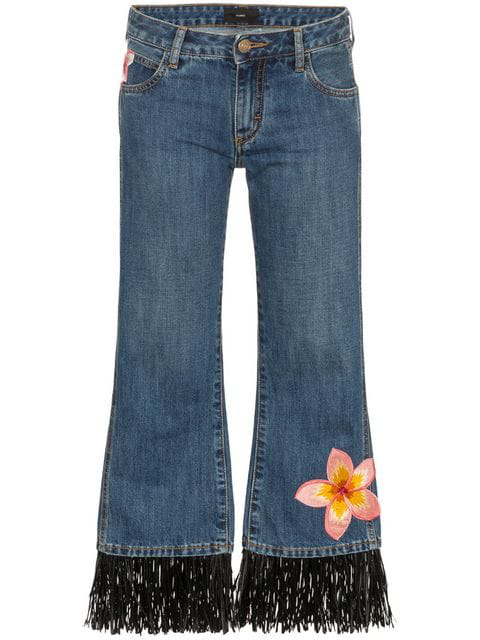 Alanui Hawaii Flower-embroidered Jeans In Blue