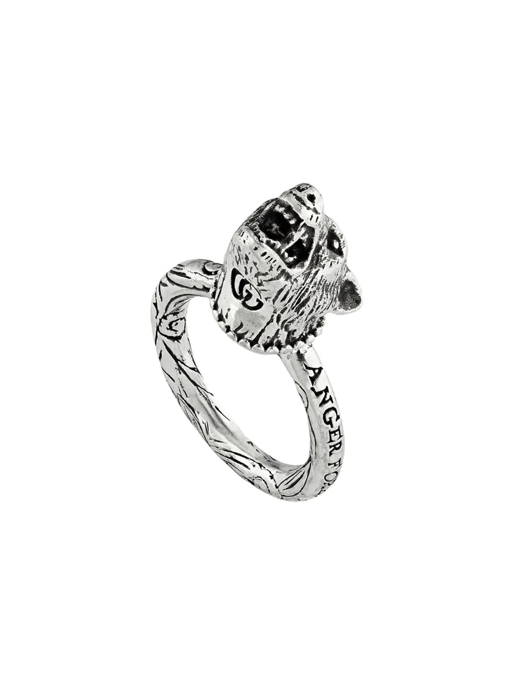 88a7162b3 Gucci Anger Forest Wolf Head Ring In Silver | ModeSens