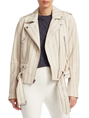 Derek Lam Leather Moto Jacket In Cream