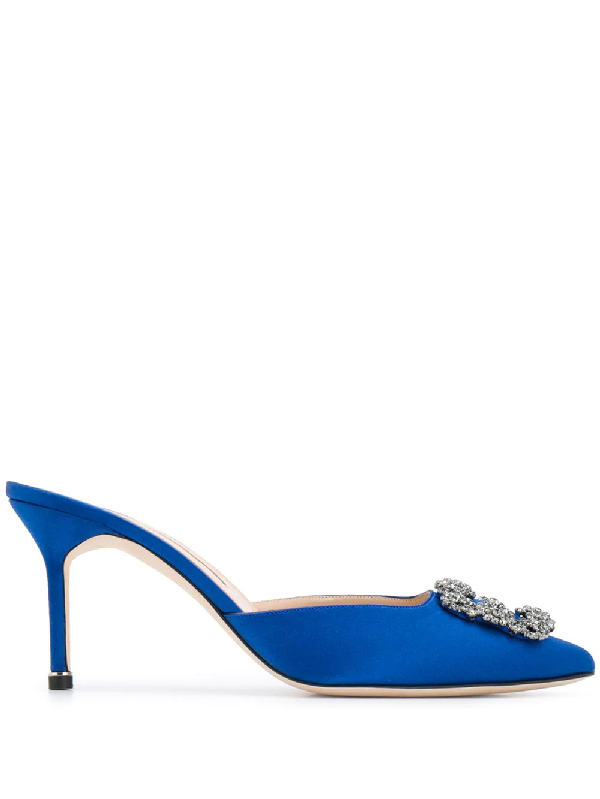 8539b447ed42c Manolo Blahnik Hangisimu 70 Royal Blue Satin Mules In Bblu 0029 ...