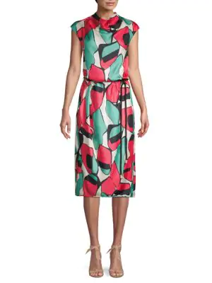 Marc Jacobs Printed Silk Drape-Neck Dress In Bright Pink