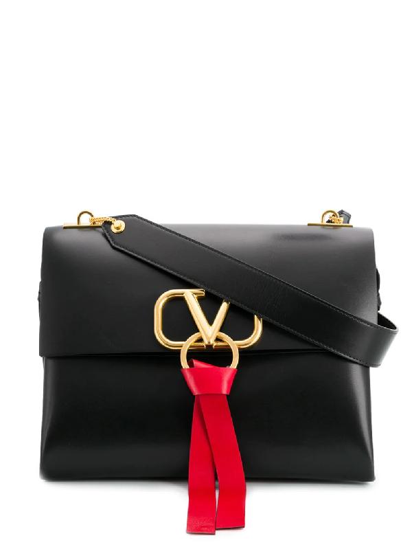 83863b5907a60 Valentino Garavani Medium V-Ring Shoulder Bag - Farfetch In 0No Nero ...