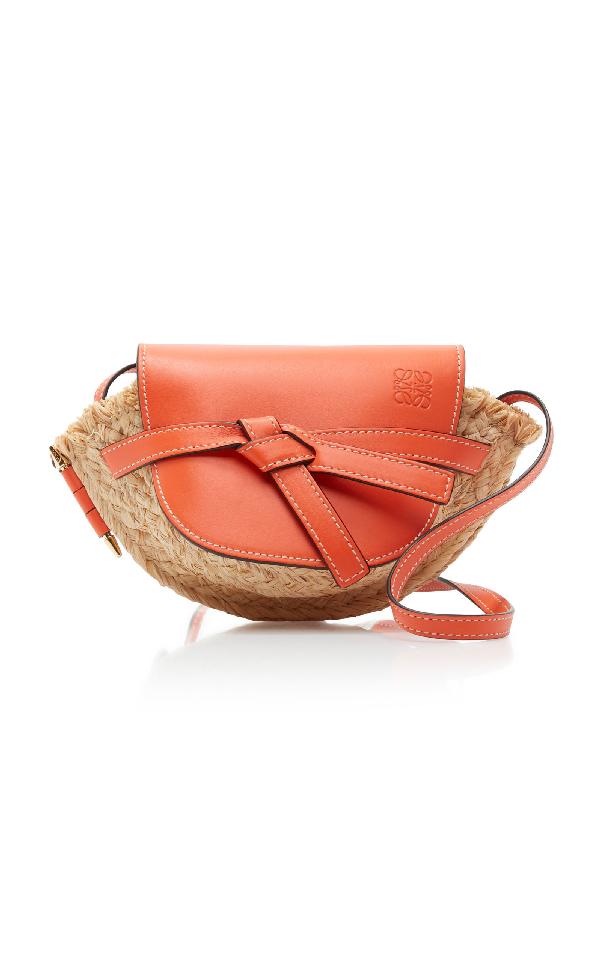 Loewe Orange And Beige Gate Leather And Raffia Mini Shoulder Bag