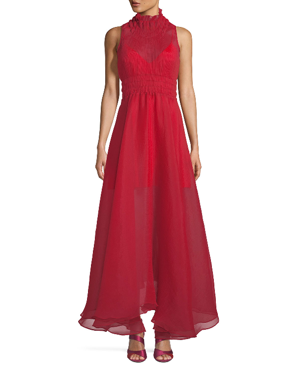 Beaufille Venus Sleeveless Textured Chiffon Dress In Red