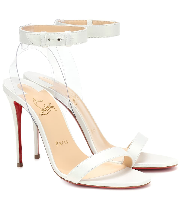 Christian Louboutin Jonatina 100 Pvc And White Leather Sandals