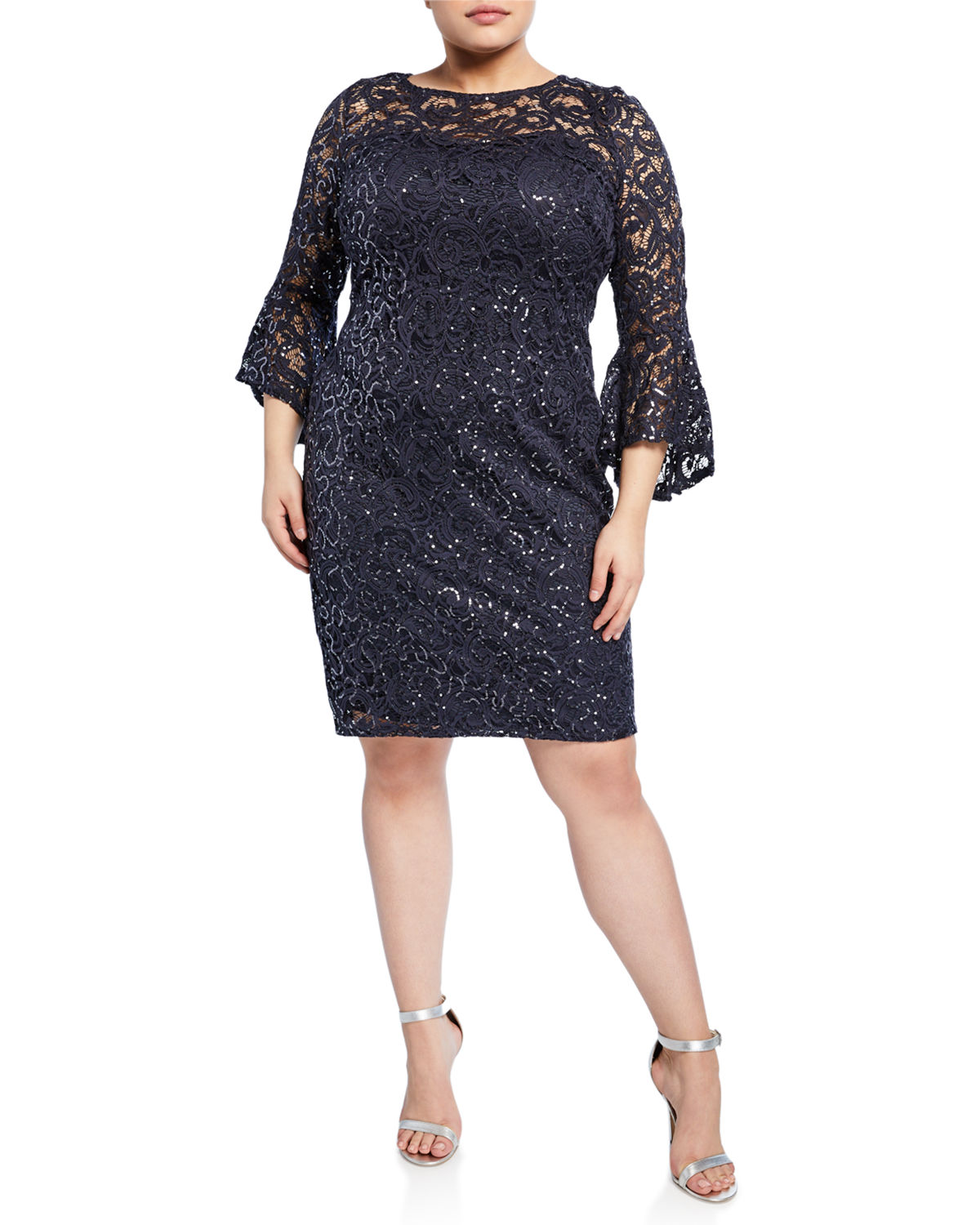 Plus Size Sequin Lace Bell Sleeve Short Dress in Gray