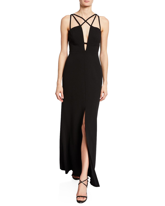 Bcbgmaxazria Parker Strap-detail Crepe Gown In Black