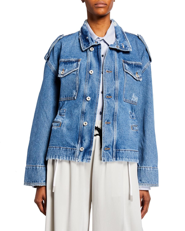 Off-White Floral Shop Distressed Denim Jacket In Blue