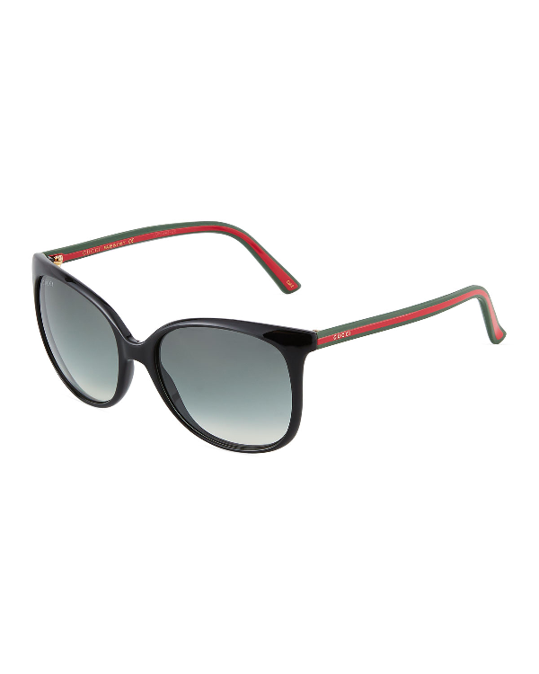 Gucci Oversized Round Cat-Eye Acetate Sunglasses, Black