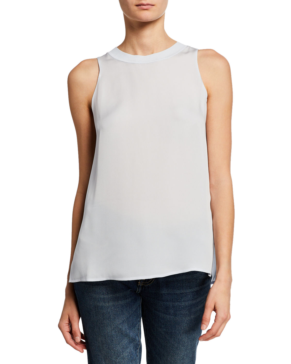 Vince Silk Rib Trim Tank In Blue