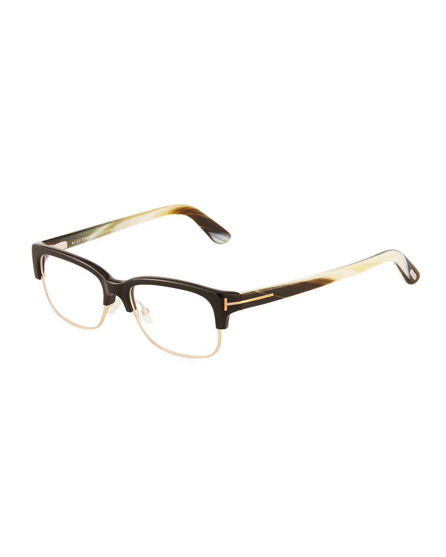 89279bab978b Tom Ford Acetate Metal Brow-Line Optical Glasses In Black Gold ...