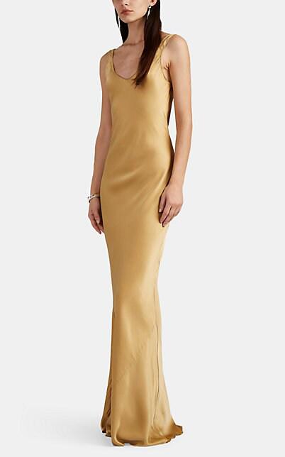 Nili Lotan Bazile Silk Charmeuse Gown In Gold