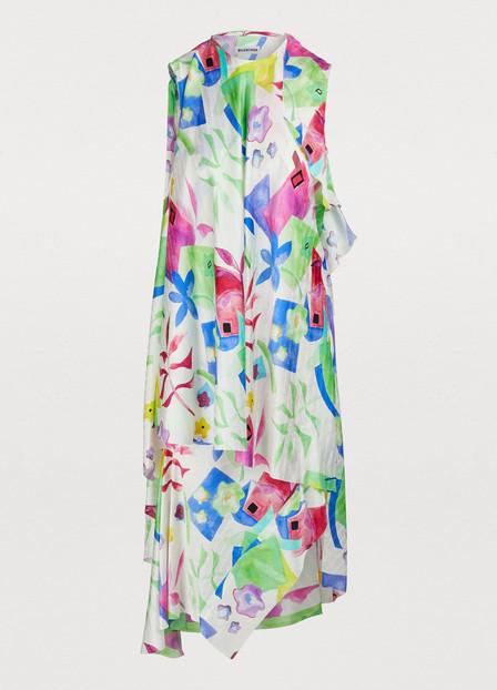 Balenciaga Watercolor Logo-Jacquard Silk Asymmetric Dress In White