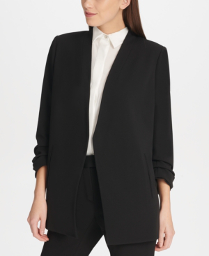 Dkny Foundation Open-Front Jacket In Black
