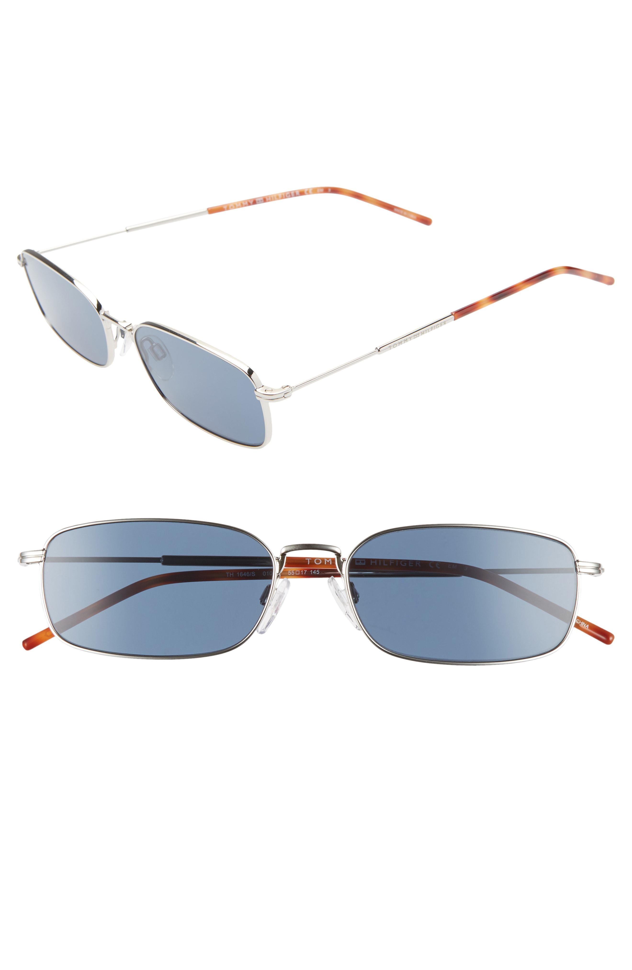 05ea046b2c8a Tommy Hilfiger 55Mm Rectangle Sunglasses - Palladium/ Blue | ModeSens