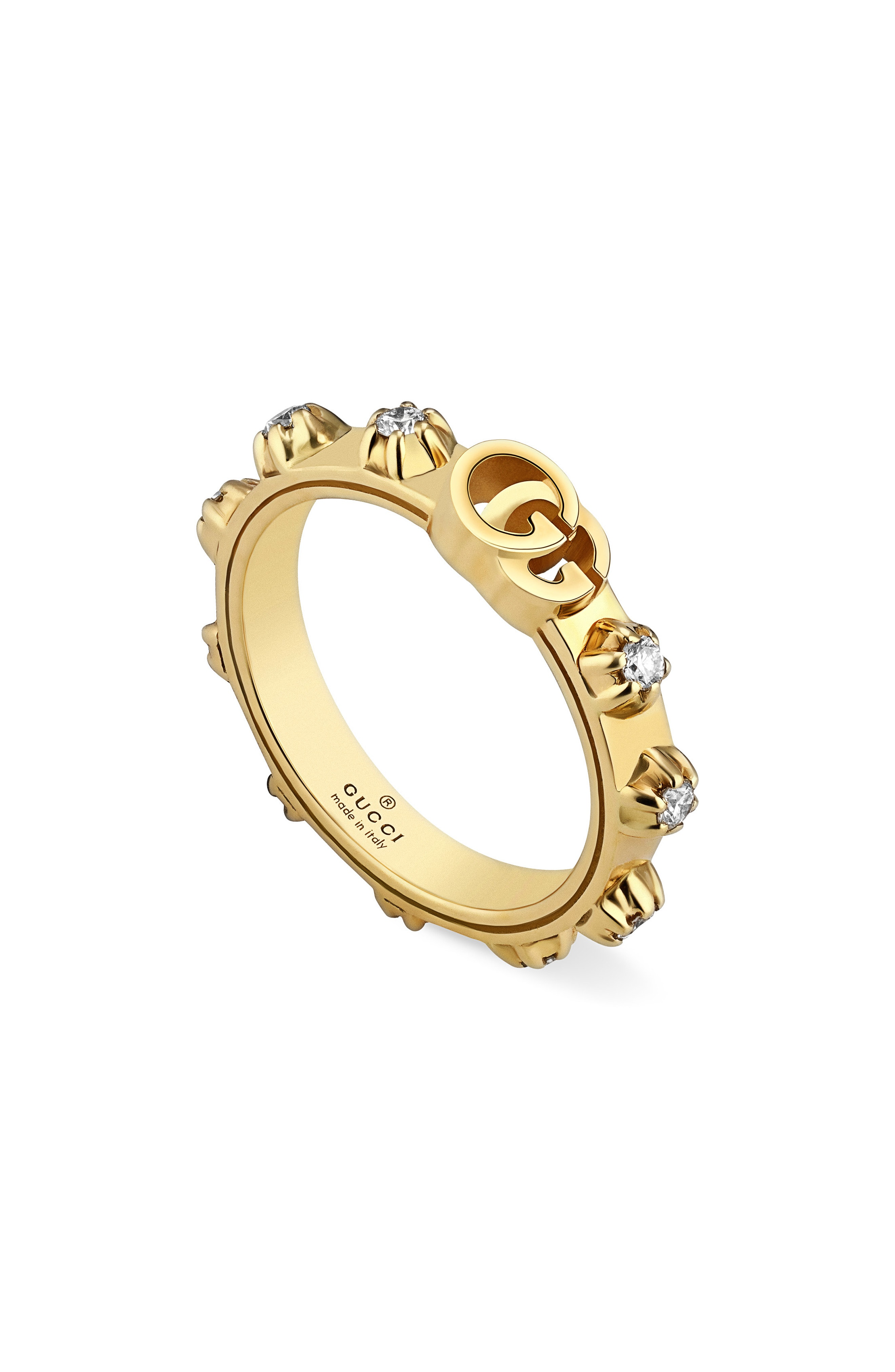a90778911fc Gucci Gg Running Diamond Ring In Yellow Gold