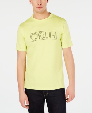 b7a604ddd Hugo Boss Hugo Men's Dicagolino Reverse Logo Graphic T-Shirt In Bright  Yellow