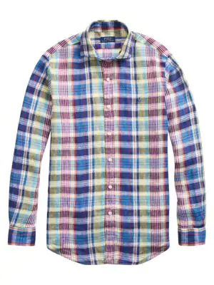 6b570898 Classic-Fit Plaid Linen Shirt in Blue