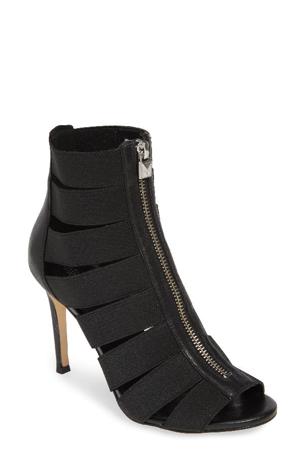 5183f0dcf0f8 Michael Michael Kors Women s Margaret Cage High-Heel Sandal Booties In  Black Fabric  Vachetta