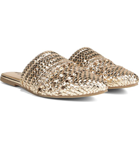 Sam Edelman Women's Natalya Woven Leather Mules In Molten Gold Leather