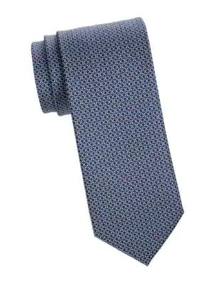 Salvatore Ferragamo Printed Silk Tie In Marine Blue