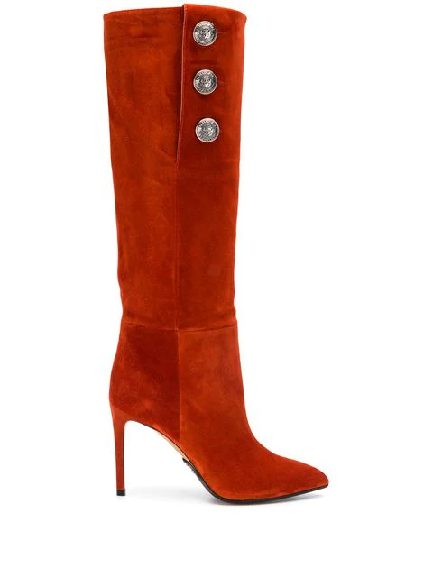 Balmain Suede Knee-High Boots In Orange