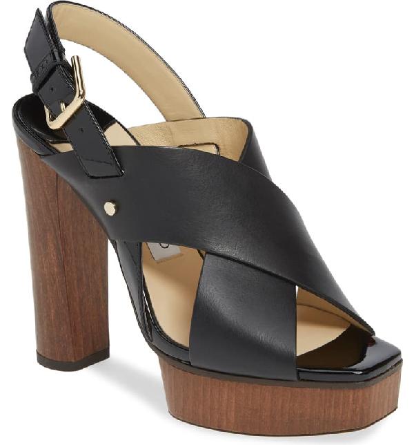 Jimmy Choo Aix Platform Leather Slingback Sandals In Black