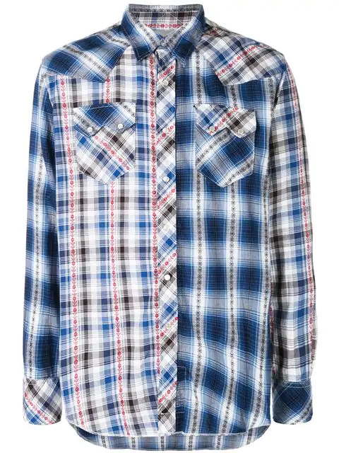 Engineered Garments Contrast Plaid Shirt In Blue