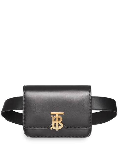 0c67403f70a Tb Monogram Leather Belt Bag in Black
