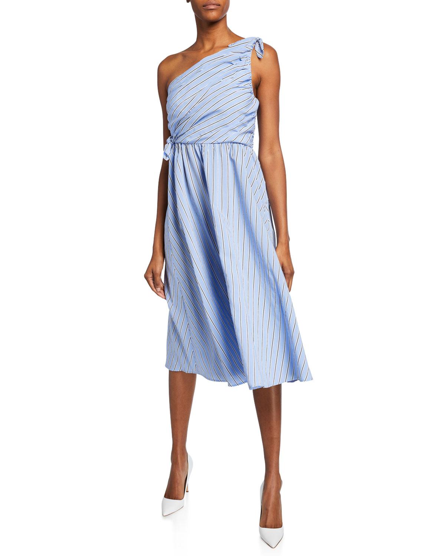 29421da0e40 A.L.C Cabrera Striped One-Shoulder Dress In Light Blue