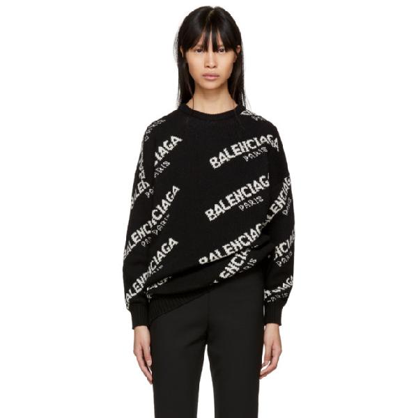 Balenciaga Women's Black And White Logo-intarsia Knitted Jumper