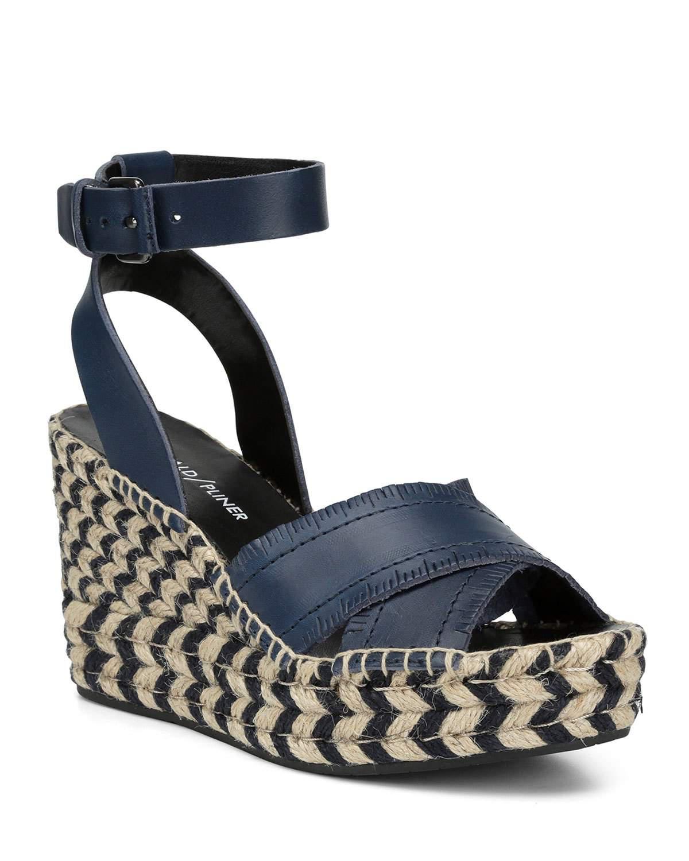 88894076c5 Donald J Pliner Ines Leather Wedge Espadrille Sandals In Navy | ModeSens