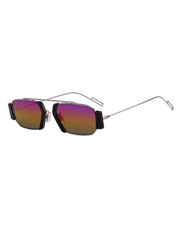 f86c48c85044a Dior Men s Rectangular Metal Sunglasses In Black Pattern