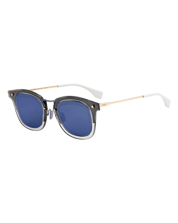 2c1a5b993f Fendi Men s Square Translucent Plastic Sunglasses In Gray