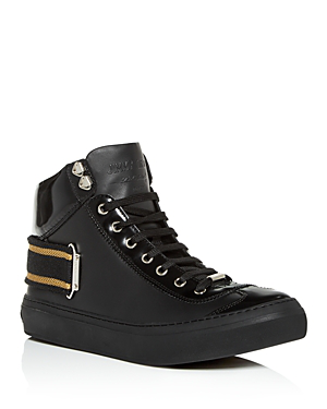 07238cb4d4 Jimmy Choo Men's Argyle Leather High-Top Sneakers In Black/Gold ...