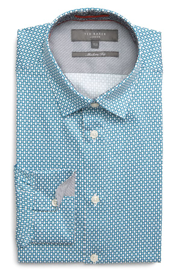 Ted Baker Edde Two-Tone Phormal Slim Fit Shirt In Blue