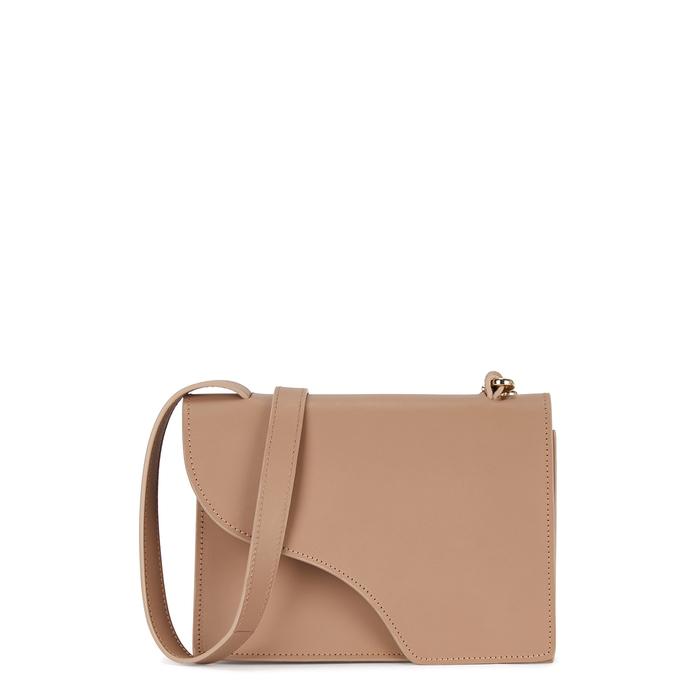 Atp Atelier Siena Brown Leather Cross-Body Bag In Beige