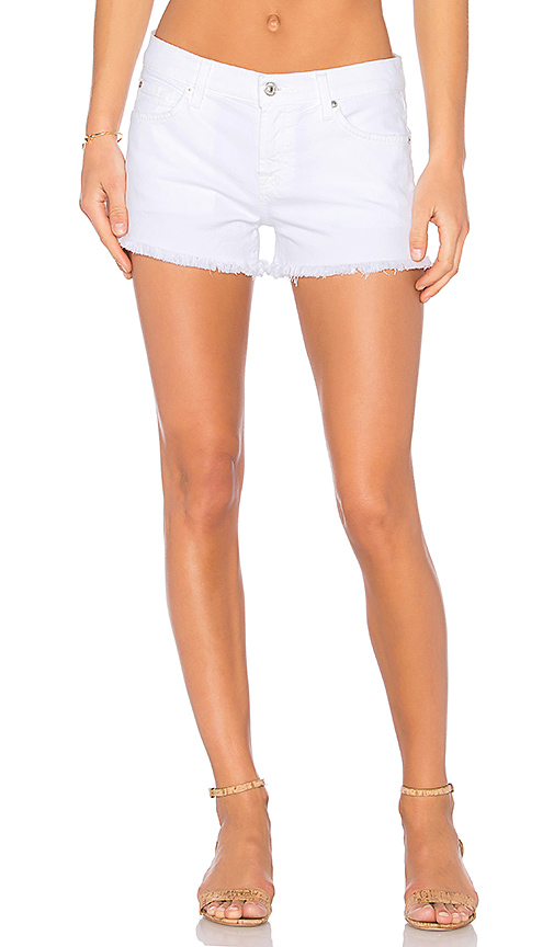 7 For All Mankind Cutoff Denim Shorts In Clean White